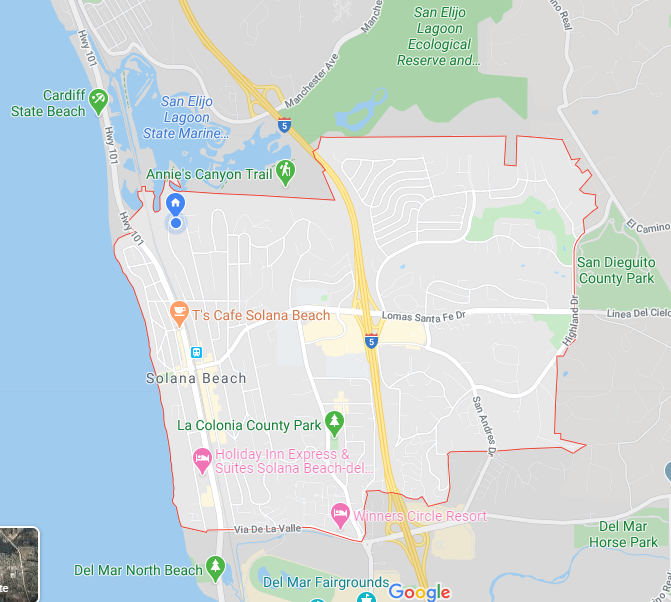 Google Map View of Solana Beach