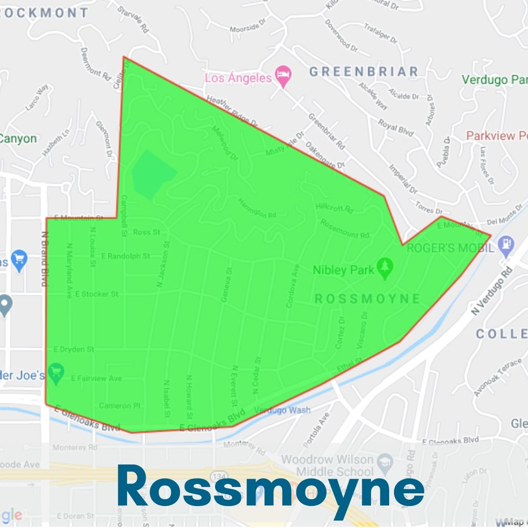 Rossmoyne Neighborhood Map, Glendale California