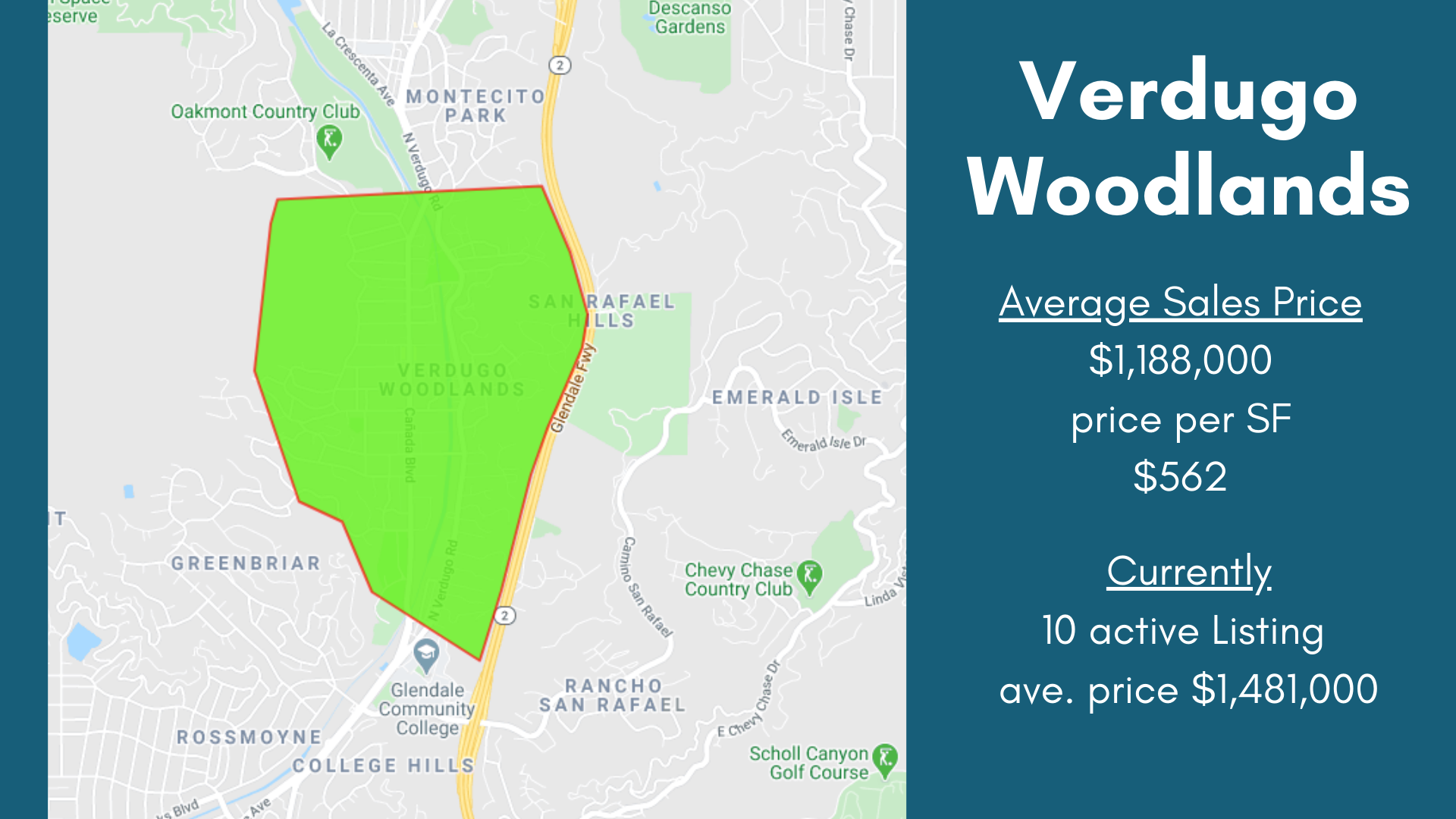 Verdugo Woodlands Neighborhood Map, Glendale California