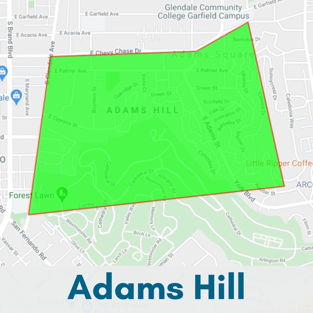 Adams Hill Glendale Map