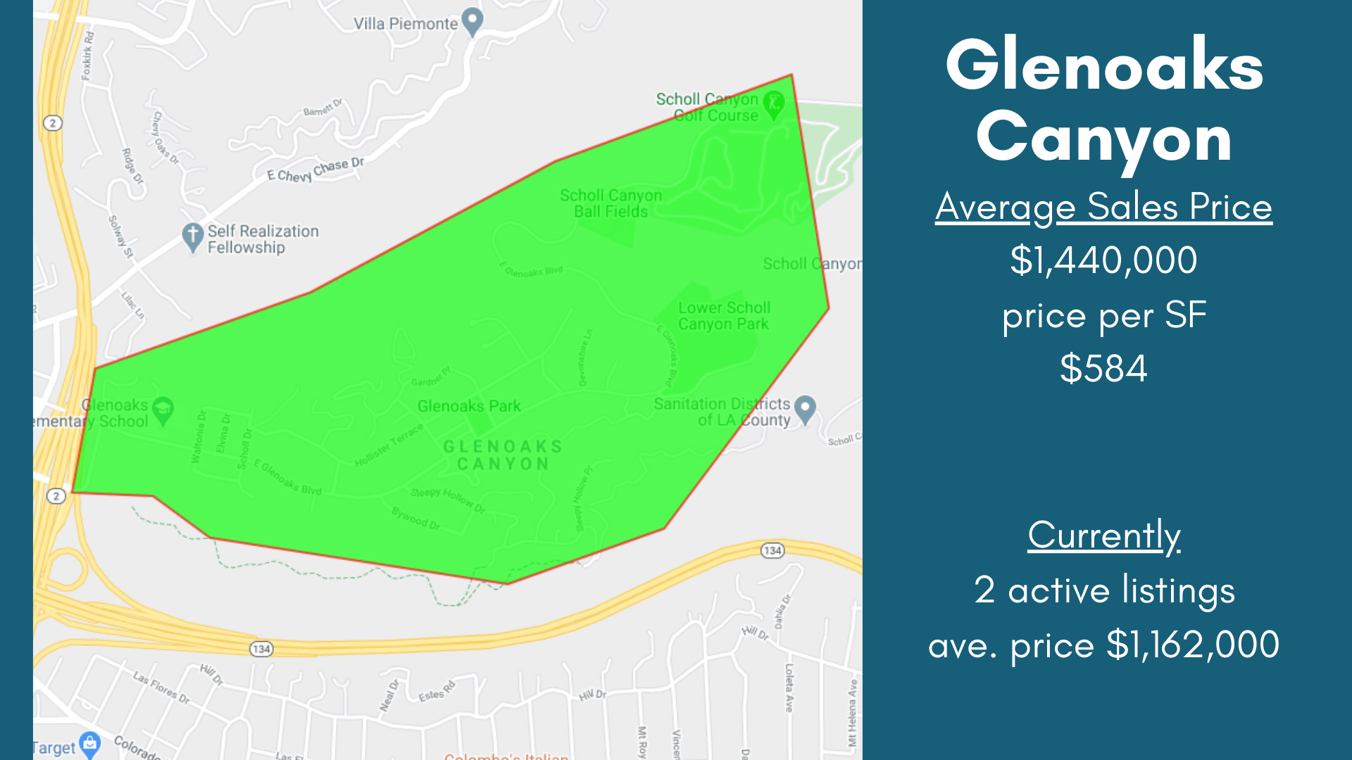 Glenoaks Canyon Neighborhood Glendale Map