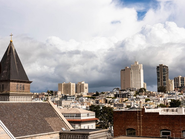 Clouds over SF rooftops.