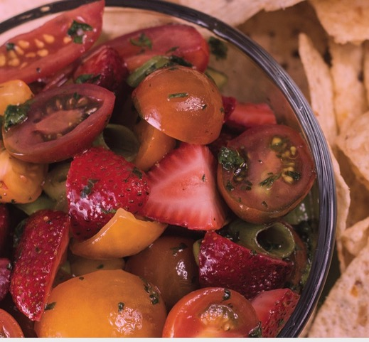 Strawberry salsa with strawberries and tomatoes