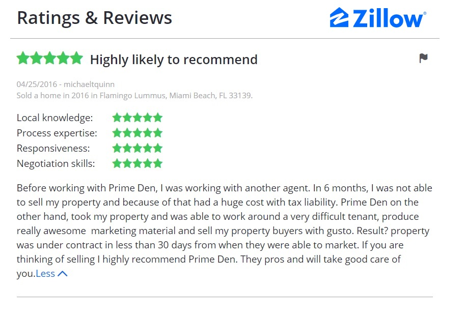 Zillow review Before working with Prime Den, I was working with another agent. In 6 months, I was not able to sell my property and because of that had a huge cost with tax liability. Prime Den on the other hand, took my property and was able to work around a very difficult tenant, produce really awesome  marketing material and sell my property buyers with gusto. Result? property was under contract in less than 30 days from when they were able to market. If you are thinking of selling I highly recommend Prime Den. They pros and will take good care of you.