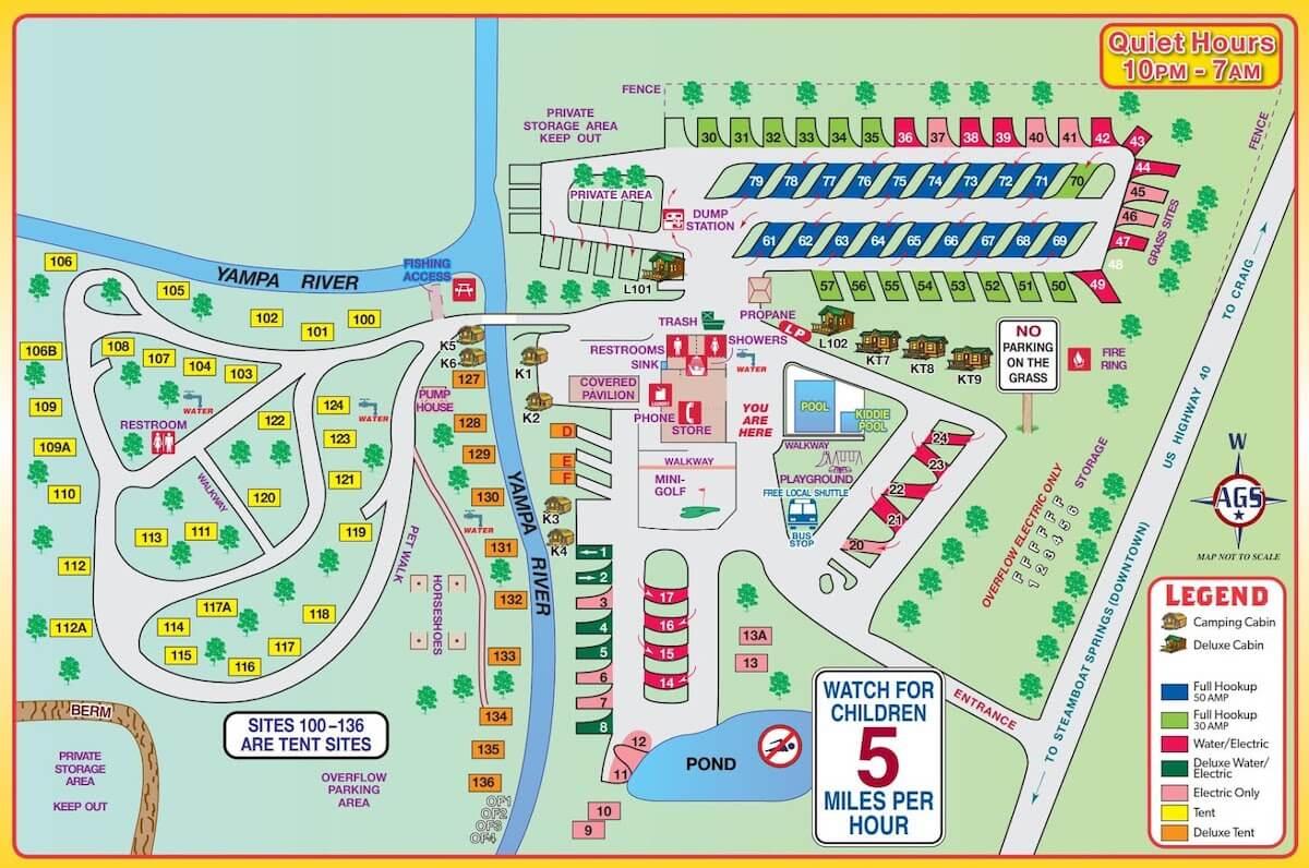 Steamboat Springs KOA Camp Site Map