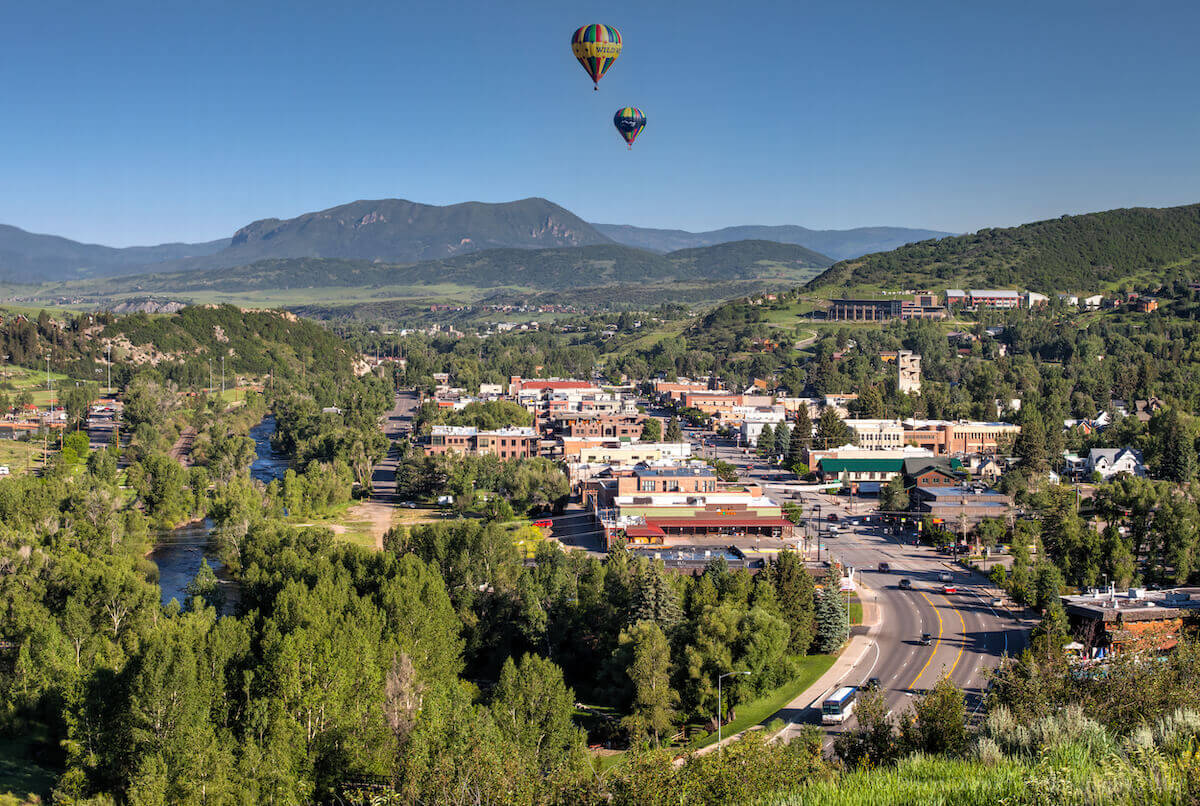 Air balloons floating over Steamboat Springs