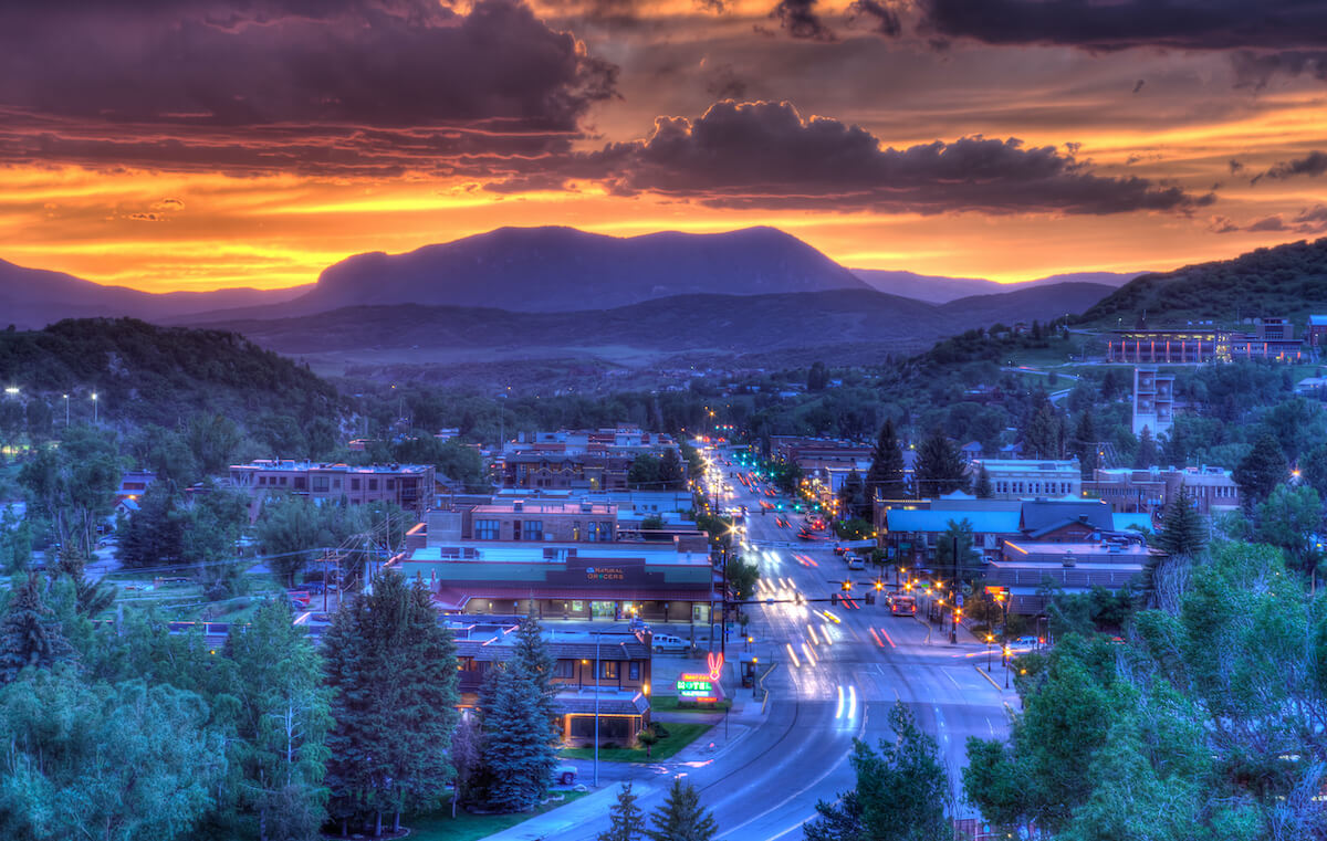 Downtown Steamboat Springs CO Sunset