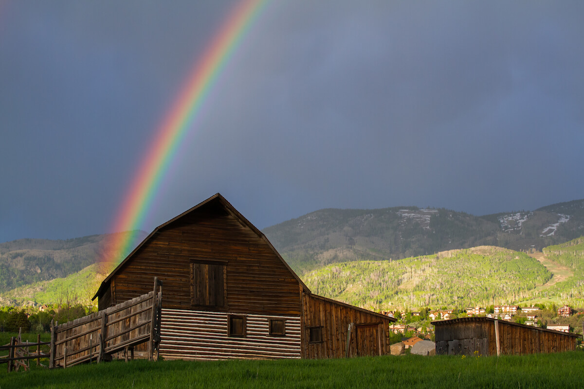 Steamboat Springs Barn with Rainbow