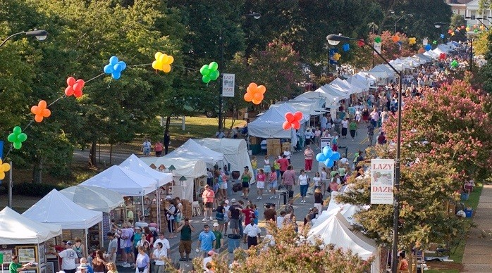 Lazy Daze Festival in Cary, North Carolina - Balloons over white tents for festival