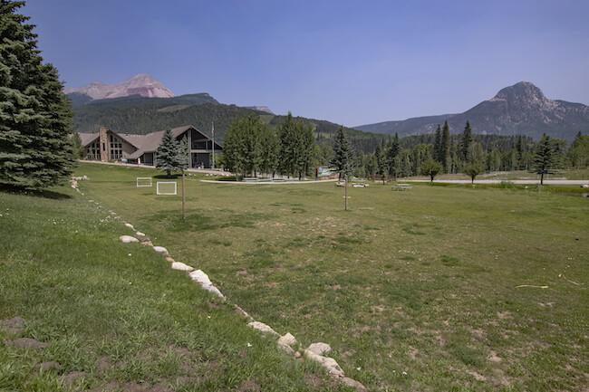 Cascade Village Condos Grassy Area and Mountain View in Durango Colorado