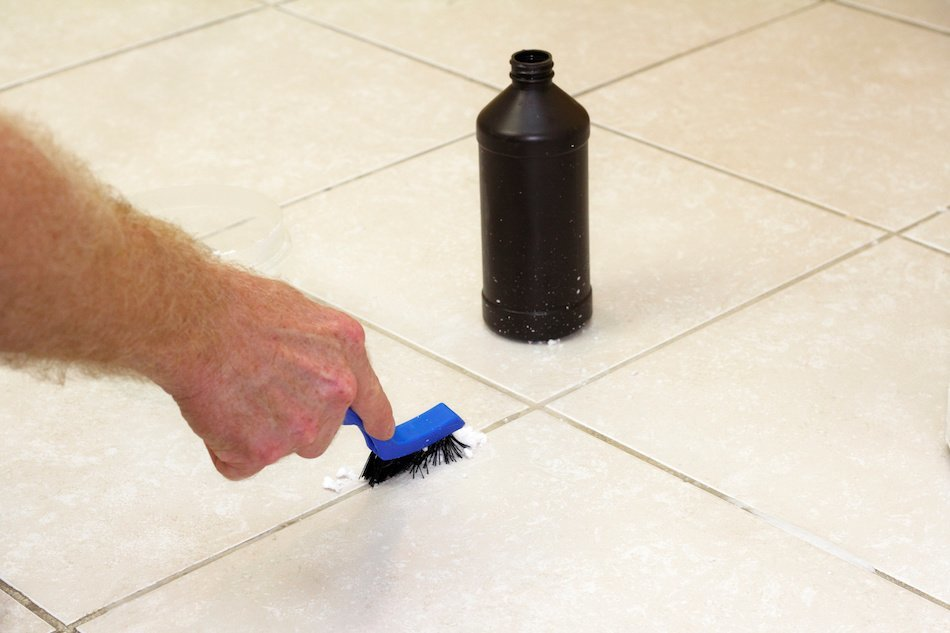 Brushing Grout With Baking Soda