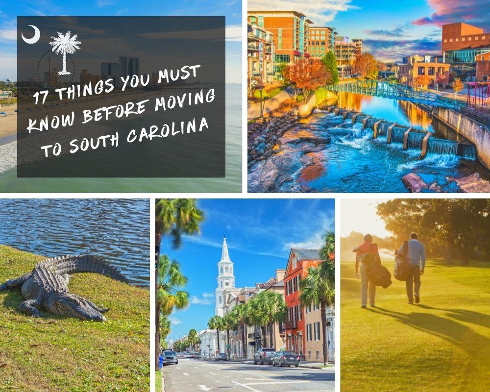 Photos of South Carolina cities, mountains, golf, and an alligator