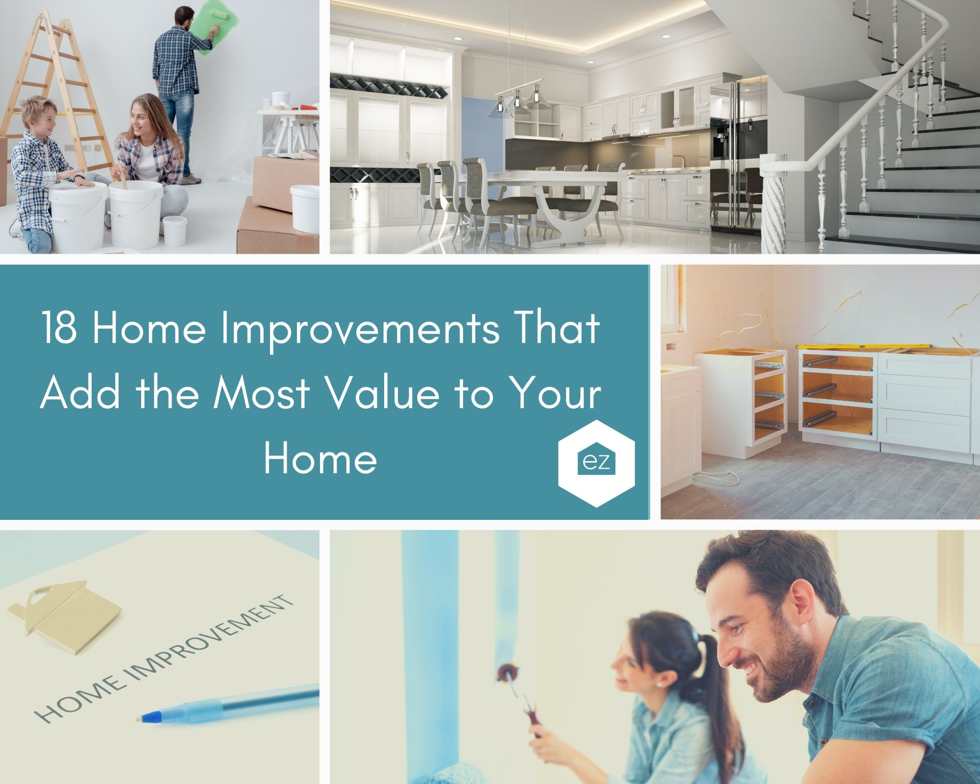 Home Improvement photos, painting with family, upgraded kitchen