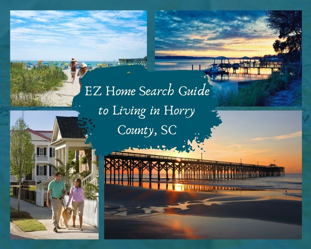 Photos of Myrtle Beach with beaches, pier, boat docks, and couple walking a sidewalk in a residential community