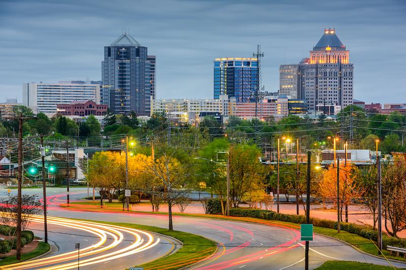 Greensboro North Carolina Downtown with Buildings