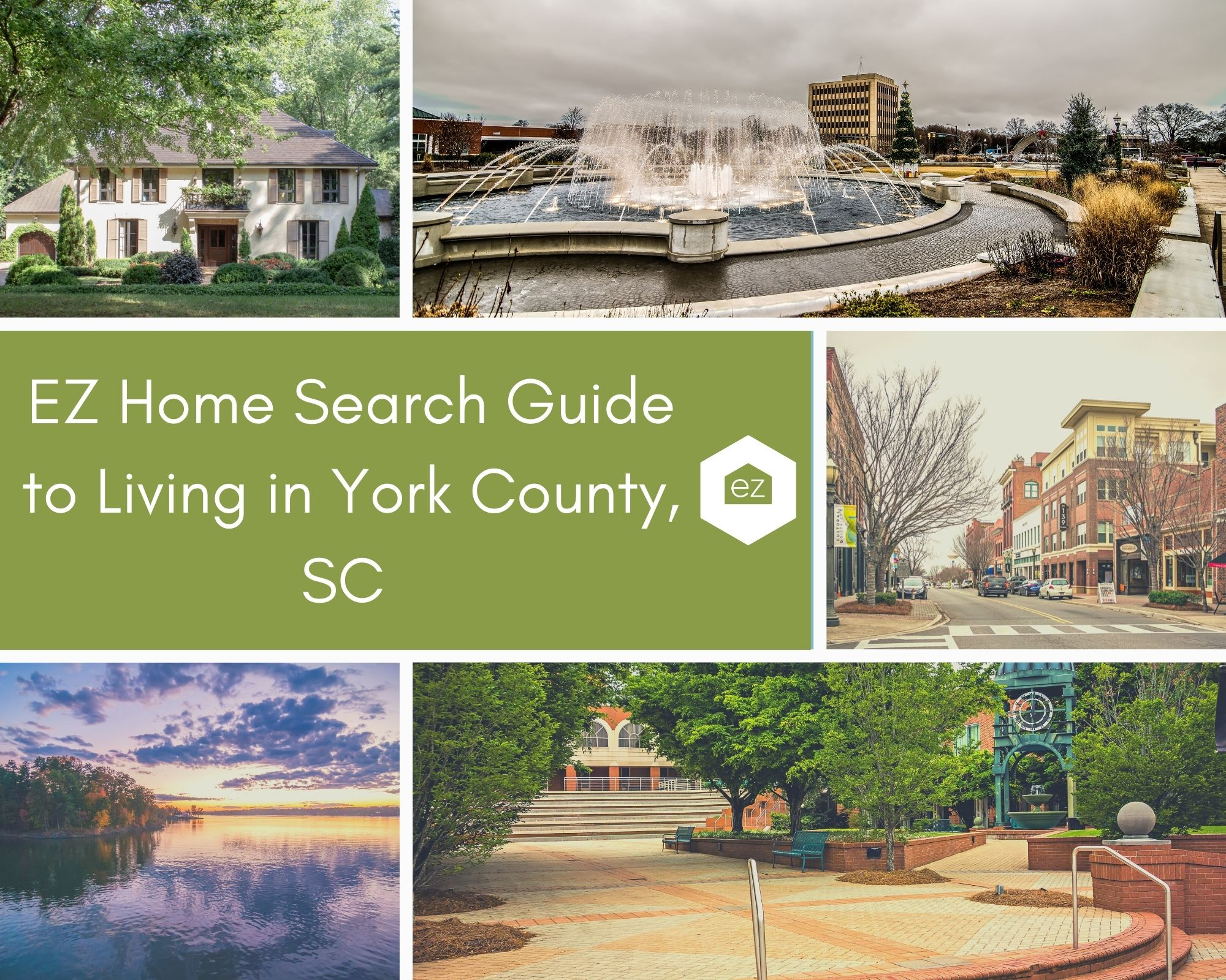 Photos of York County downtown, York County House, and Lake Wylie sunset