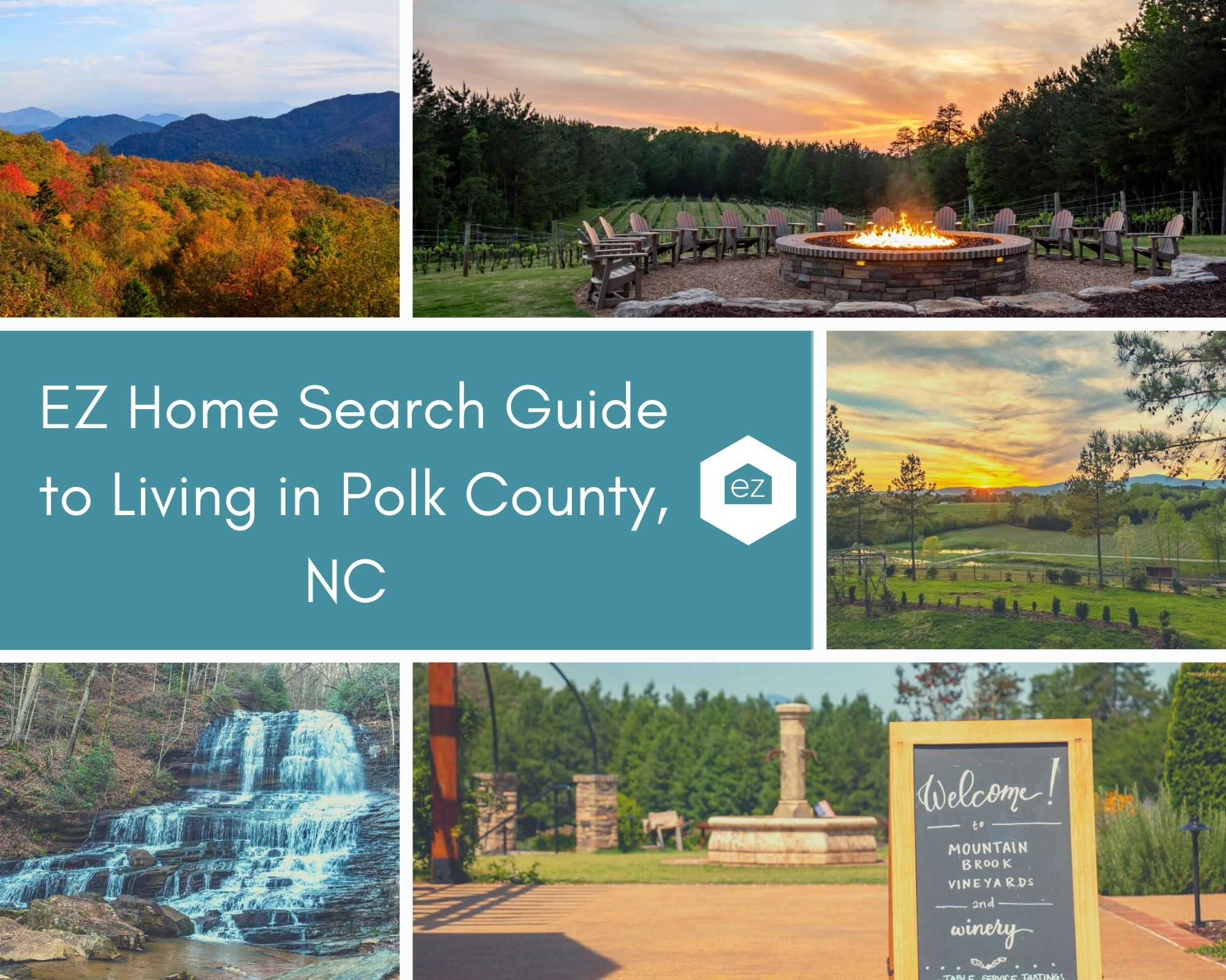 Photos taken from Polk County, NC of mountains, waterfall, and vineyards