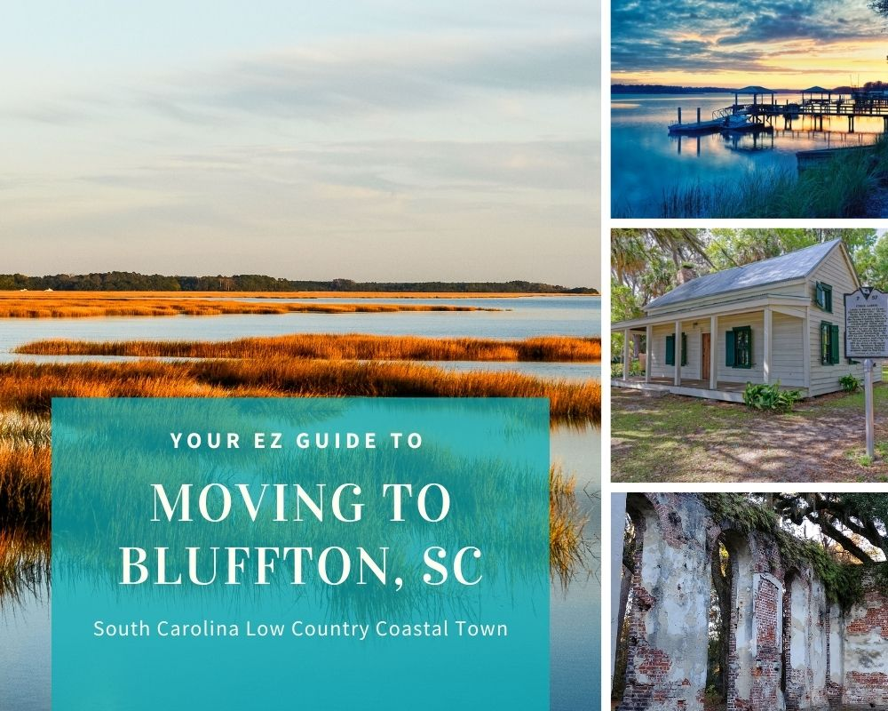 Photos of Bluffton, SC with water views, boat docks, and waterfront