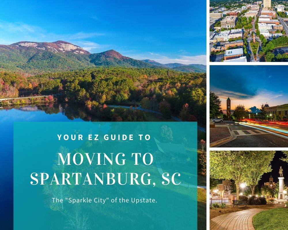 Photos of downtown Spartanburg, nearby mountains, and aerial photos