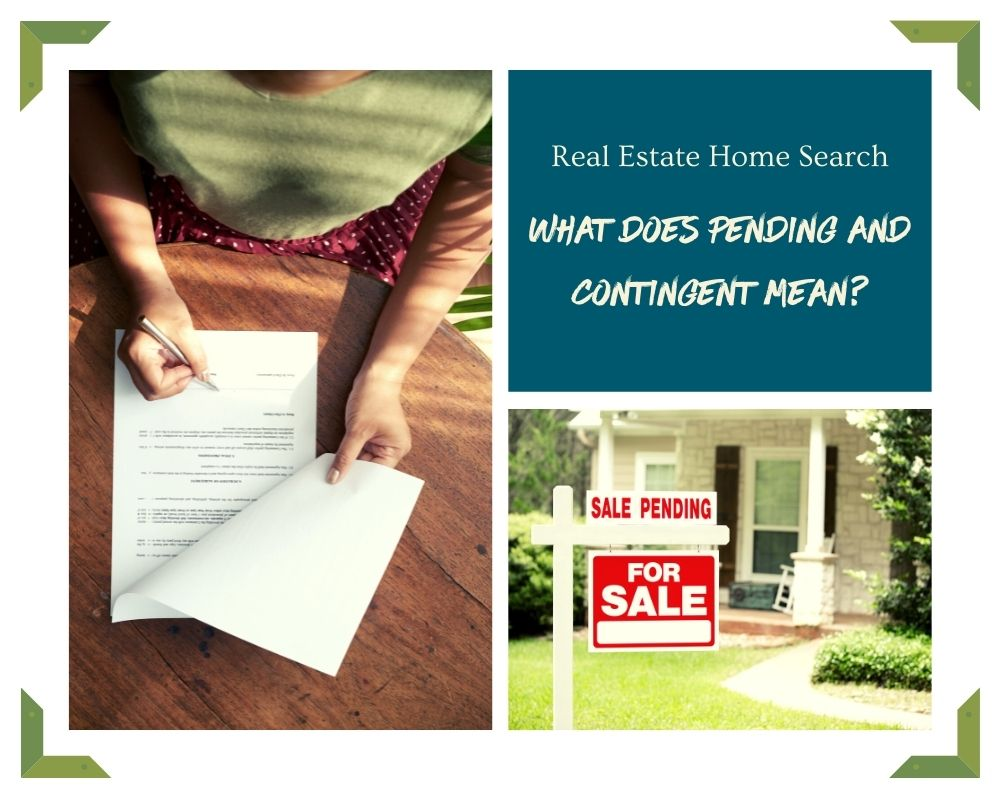 Photos of a Contract and pending sign in front of a home