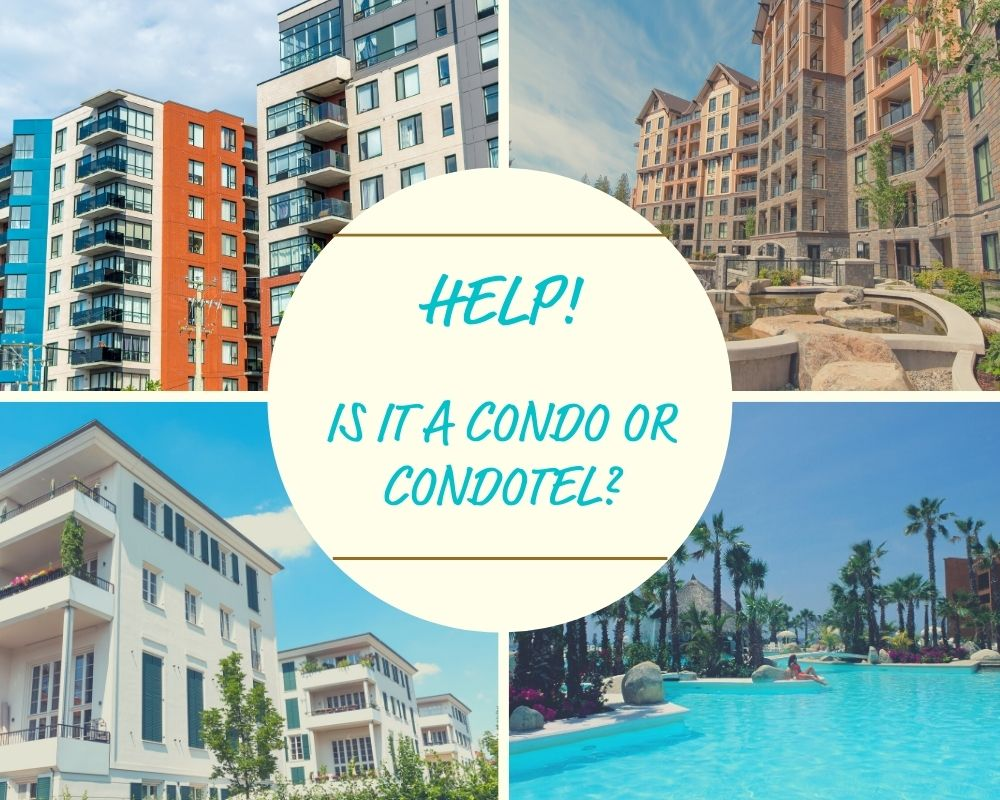 Condo buildings, condotels, resort pool, and landscaping