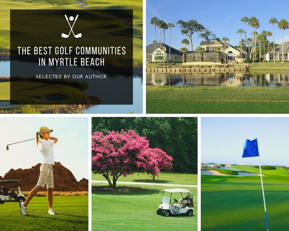 Photos of golf courses, golfers, and homes on golf courses
