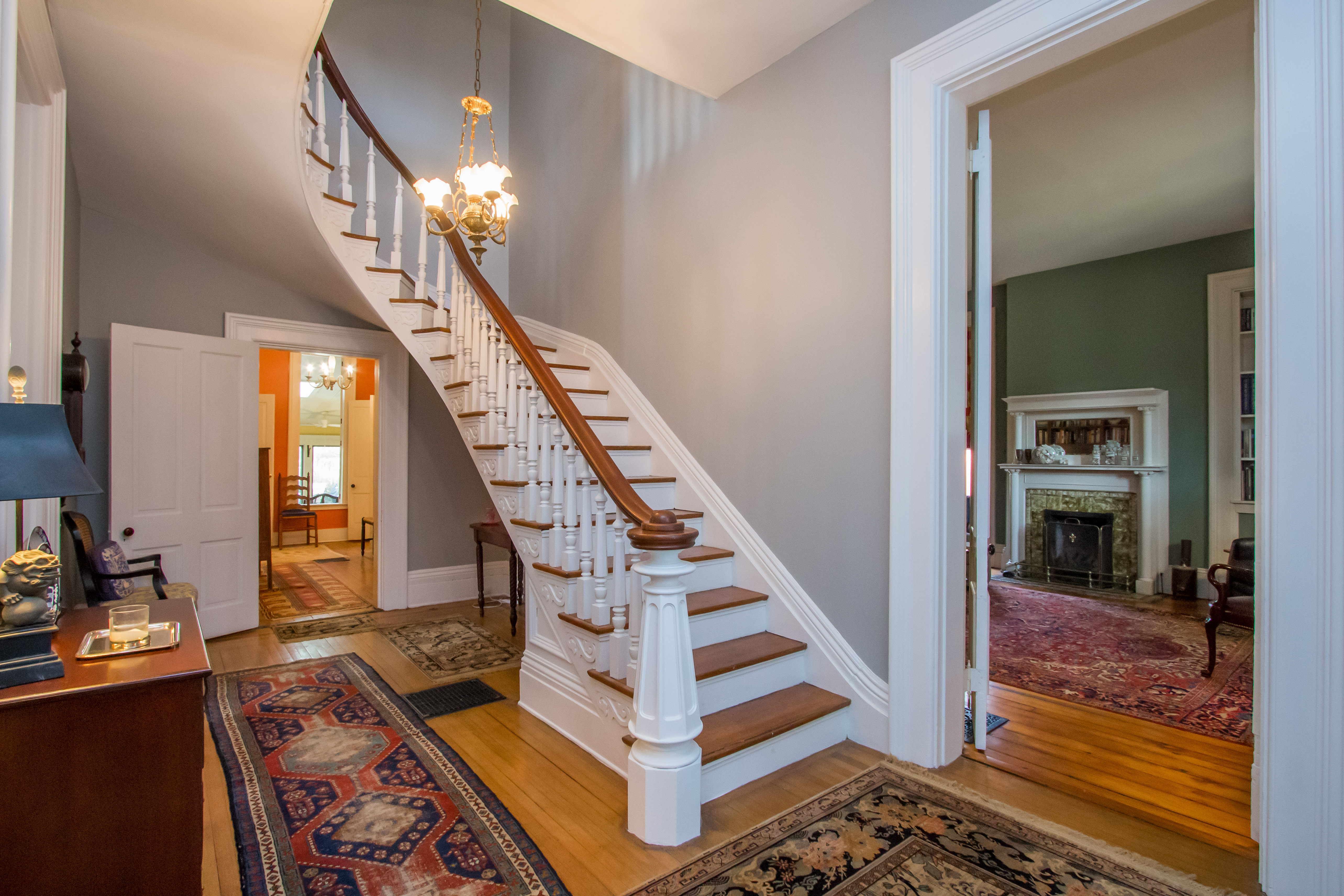 Sweeping staircase at downtown home in Paris KY on Duncan Ave
