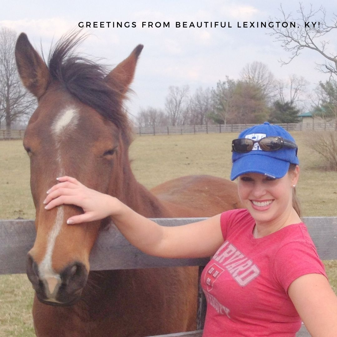 picture of Kim Soper Realtor with horse and Greetings from Lexington KY