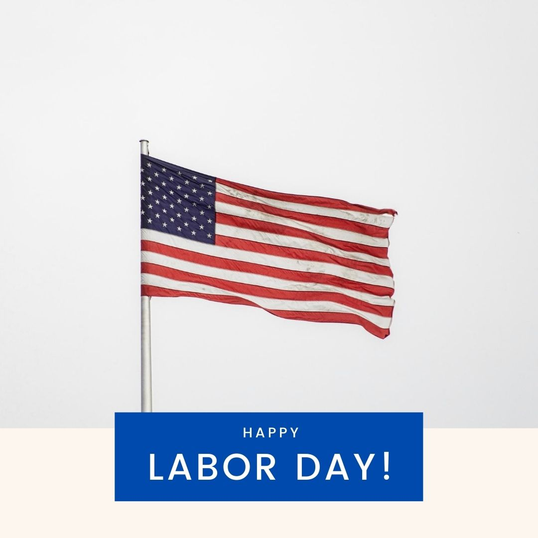 Picture of American Flag and Happy Labor Day