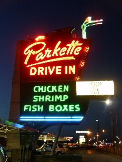 Parkette Drive In Sign in Lexington KY in 2010