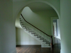 Sweeping staircase at Trolly home in Paris KY on Houston Ave