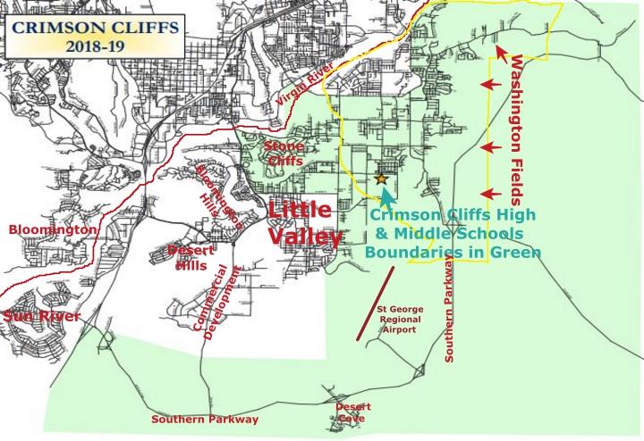 Real Estate Search Area for Crimson Cliffs School Boundaries