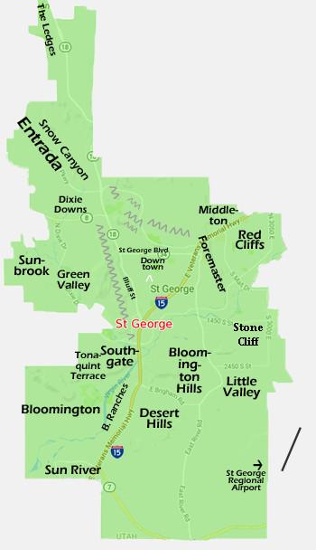 Hub of St George Neighborhoods Map
