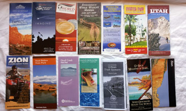 Multiple & Various Pamphlets Showcasing Southern Utah Attractions in and Around St George Utah