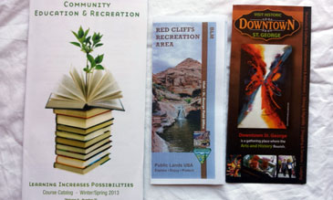 3 Pamphlets- Community Education and Recreation, Red Cliffs Recreation Area, Visit Historic Downtown St George