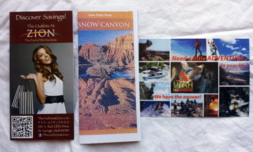 3 Southern Utah Pamphlets- The Outlets of Zion, Snow Canyon, Utah Adventures
