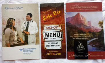 3 Southern Utah Pamphlets- Medical Staff, Cafe Rio Mexican Grill, Southwest Symphony Orchestra