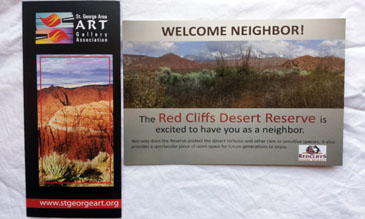 2 Pamphlets- The St George Area Art Gallery Association, The Red Cliffs Desert Reserve