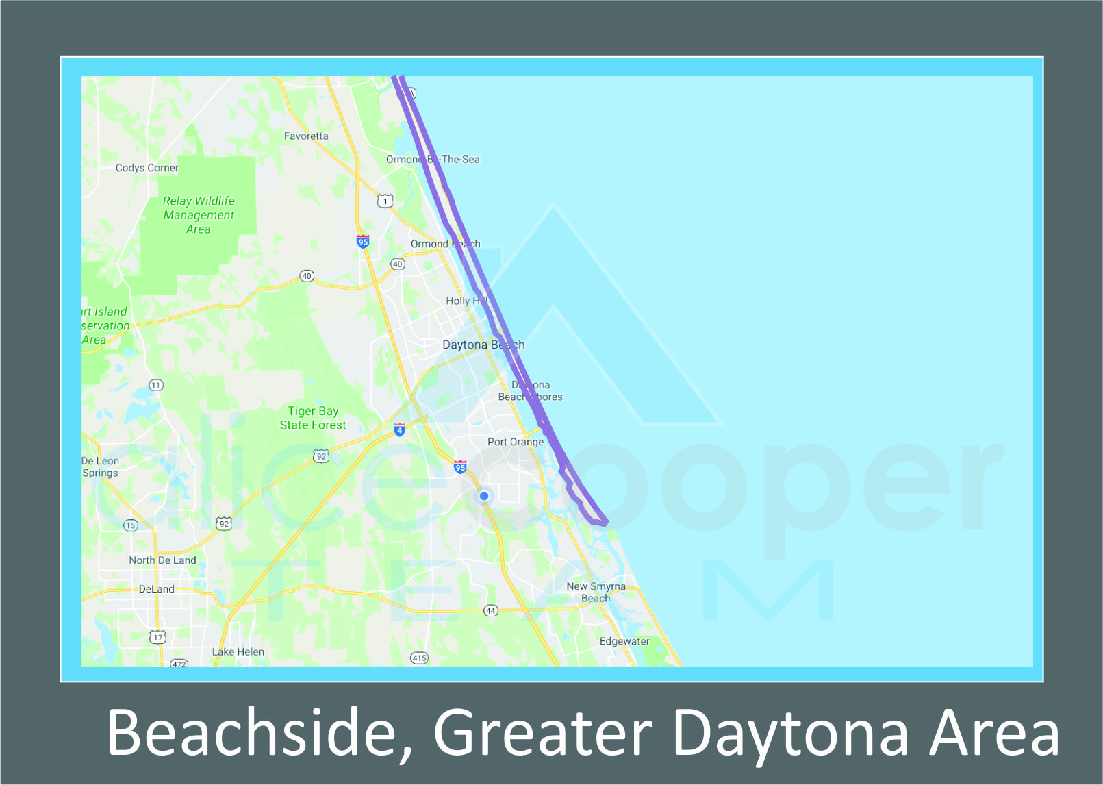 Map of Beachside Daytona Beach, FL