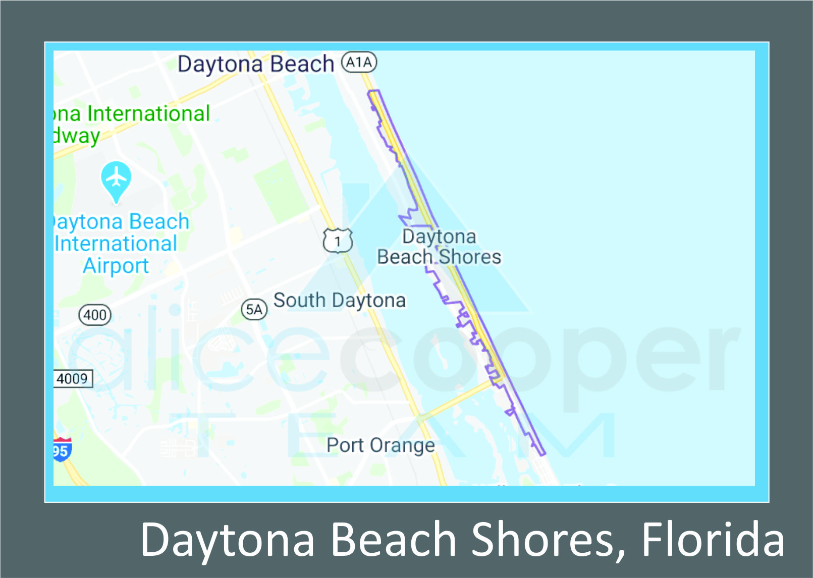 Map of Daytona Beach Shores, FL