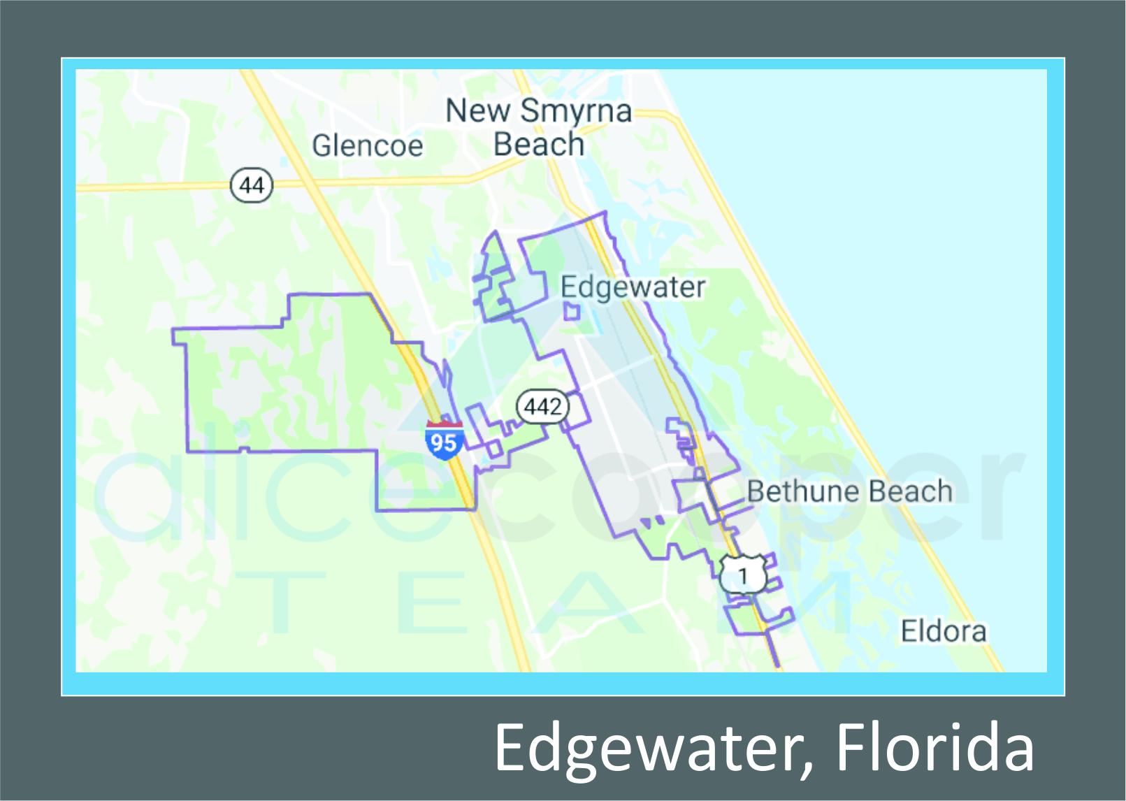 Map of Edgewater, FL