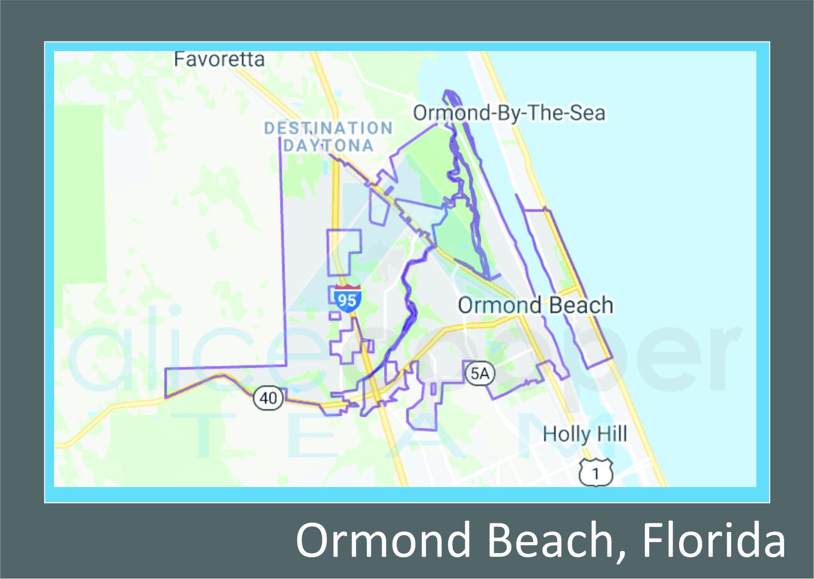 Map of Ormond Beach, FL