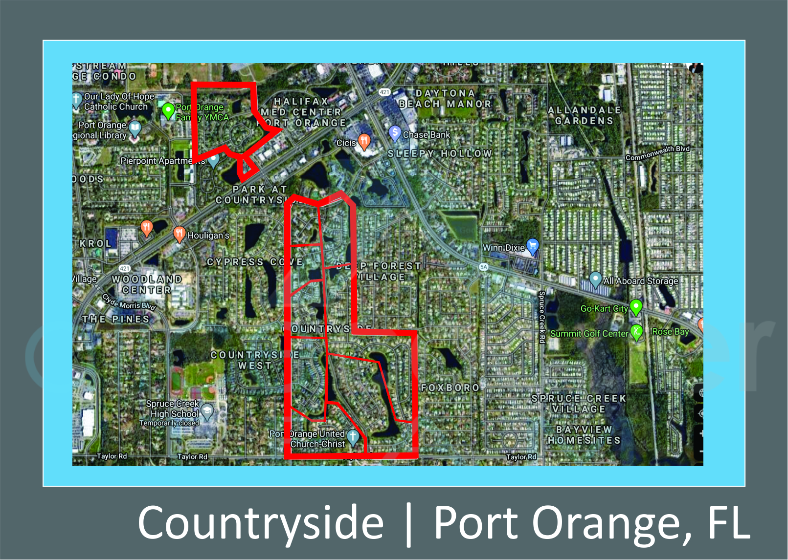 Map of Countryside in Port Orange