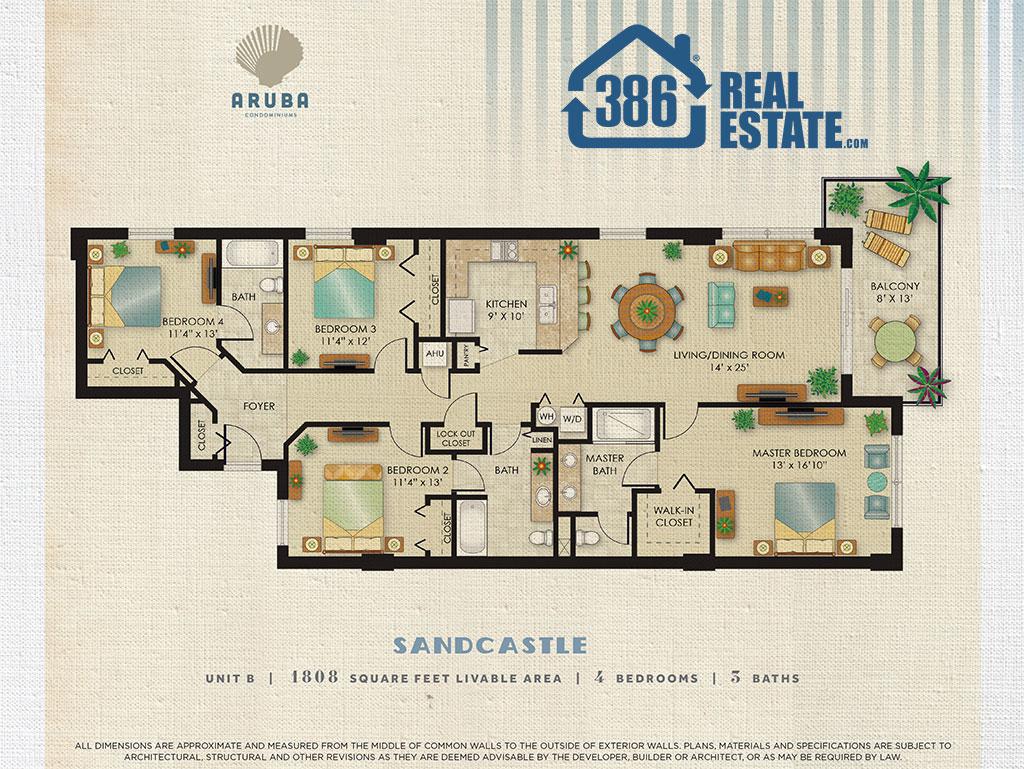 Sandcastle Floor Plan - Aruba