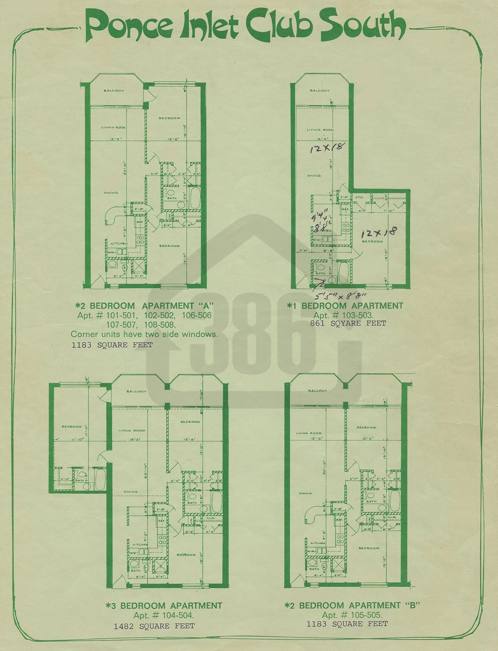 Ponce Inlet Club South Floor Plans