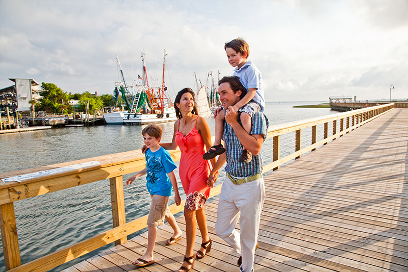 Mount pleasant is family friendly walking on pier with kids and parents