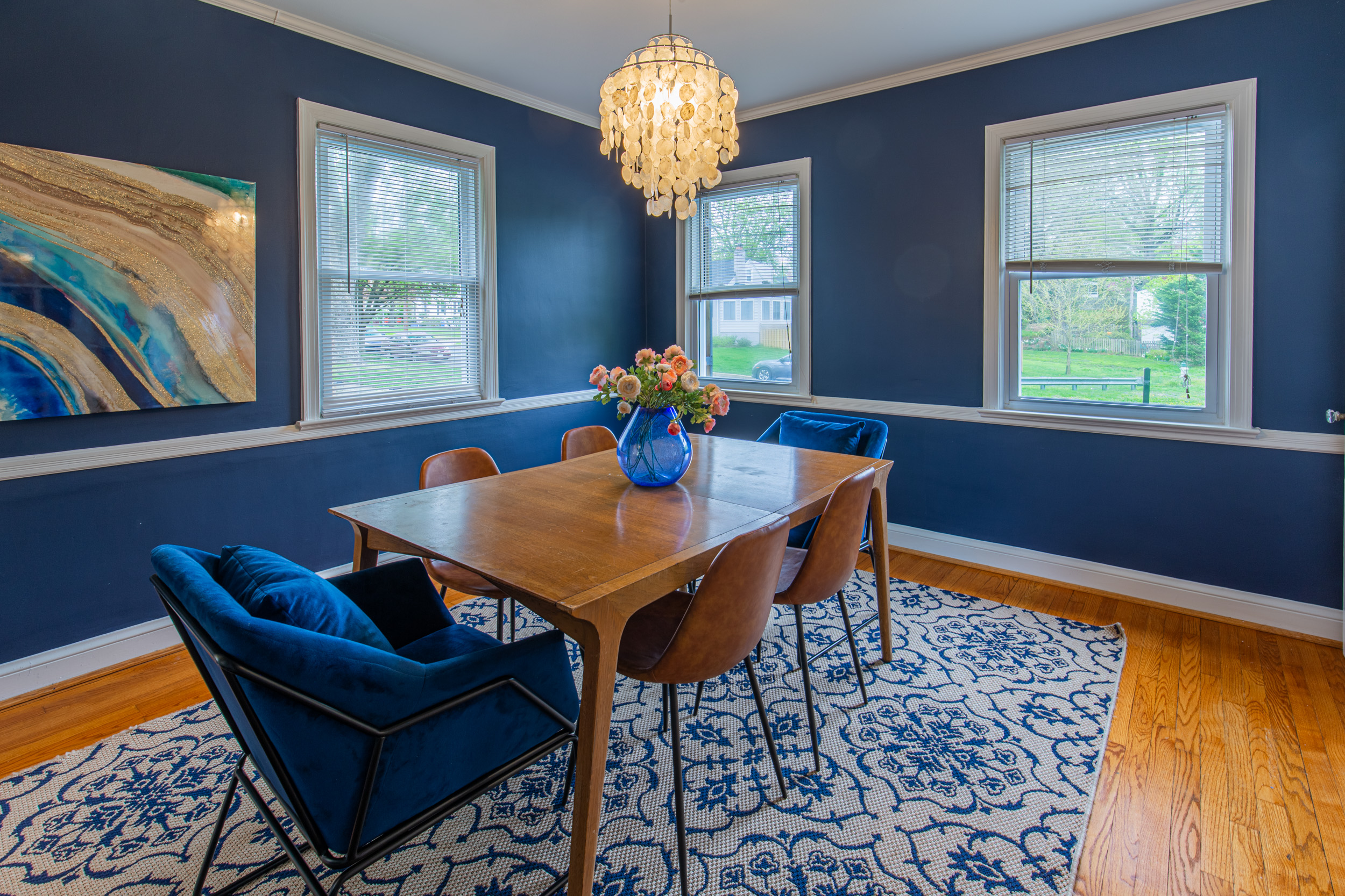 luxurious blue dining room