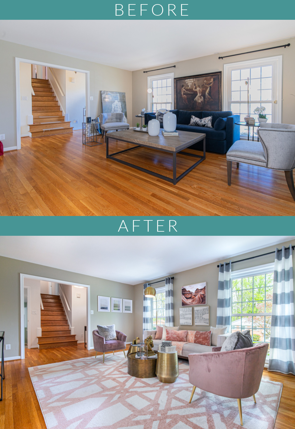 Transformation of a beautiful living room