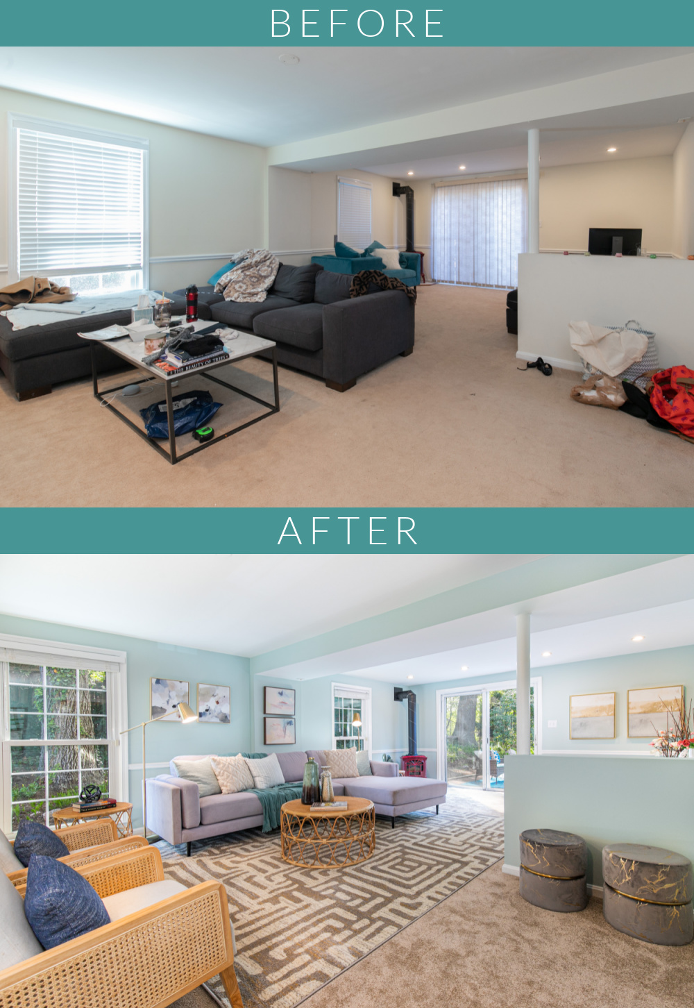 cozy living room before and after