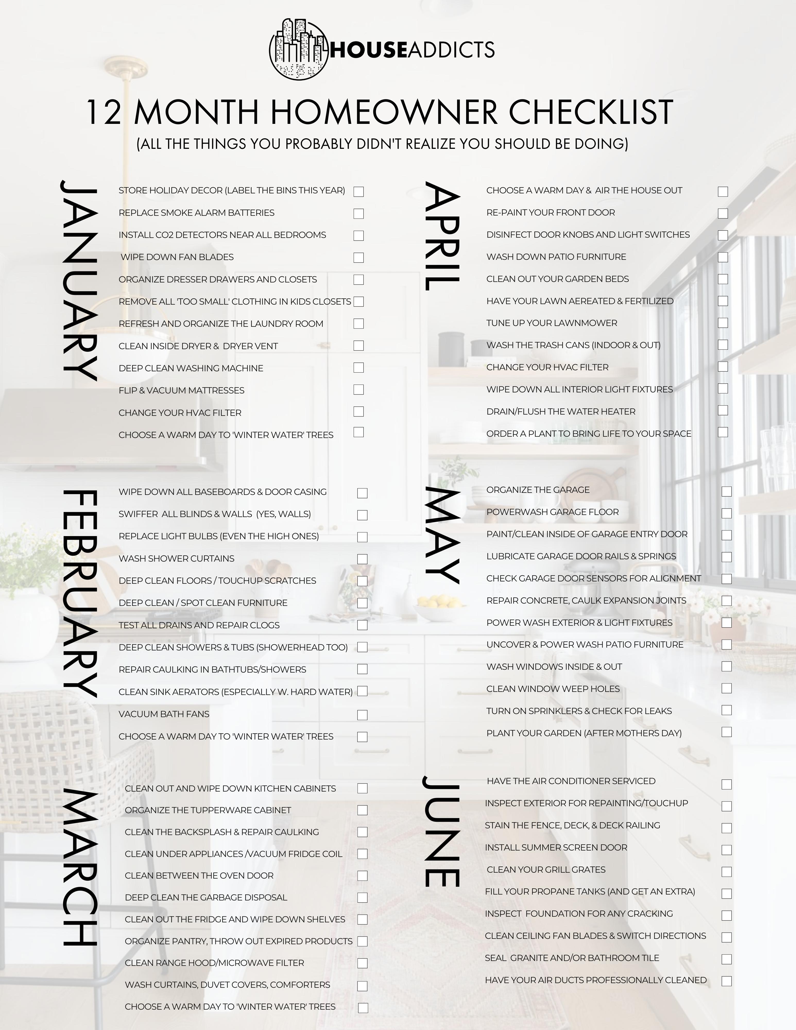 Homeowner Checklist - January - June